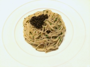 This is like the best thing for dinner. Cold angel hair pasta, with truffle oil and caviar.