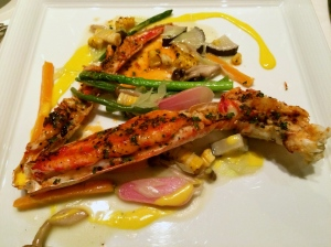 My main course grilled alaskan king crab with vegetables